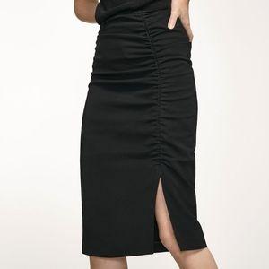Massimo Dutti Black Ruched Midi Pencil Skirt 8 NWT